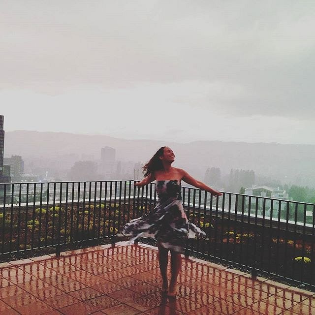 Let's dance in the rain! She said and did it!
